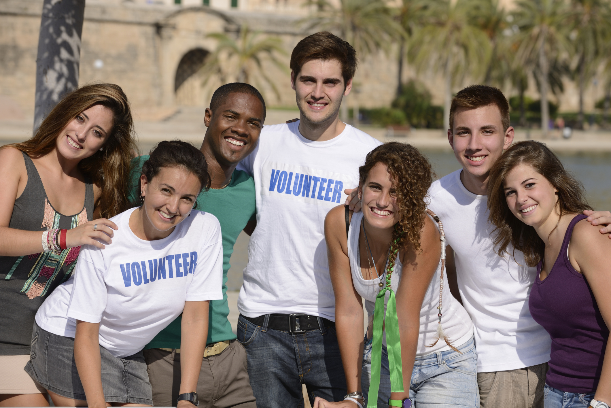 Happy volunteer group