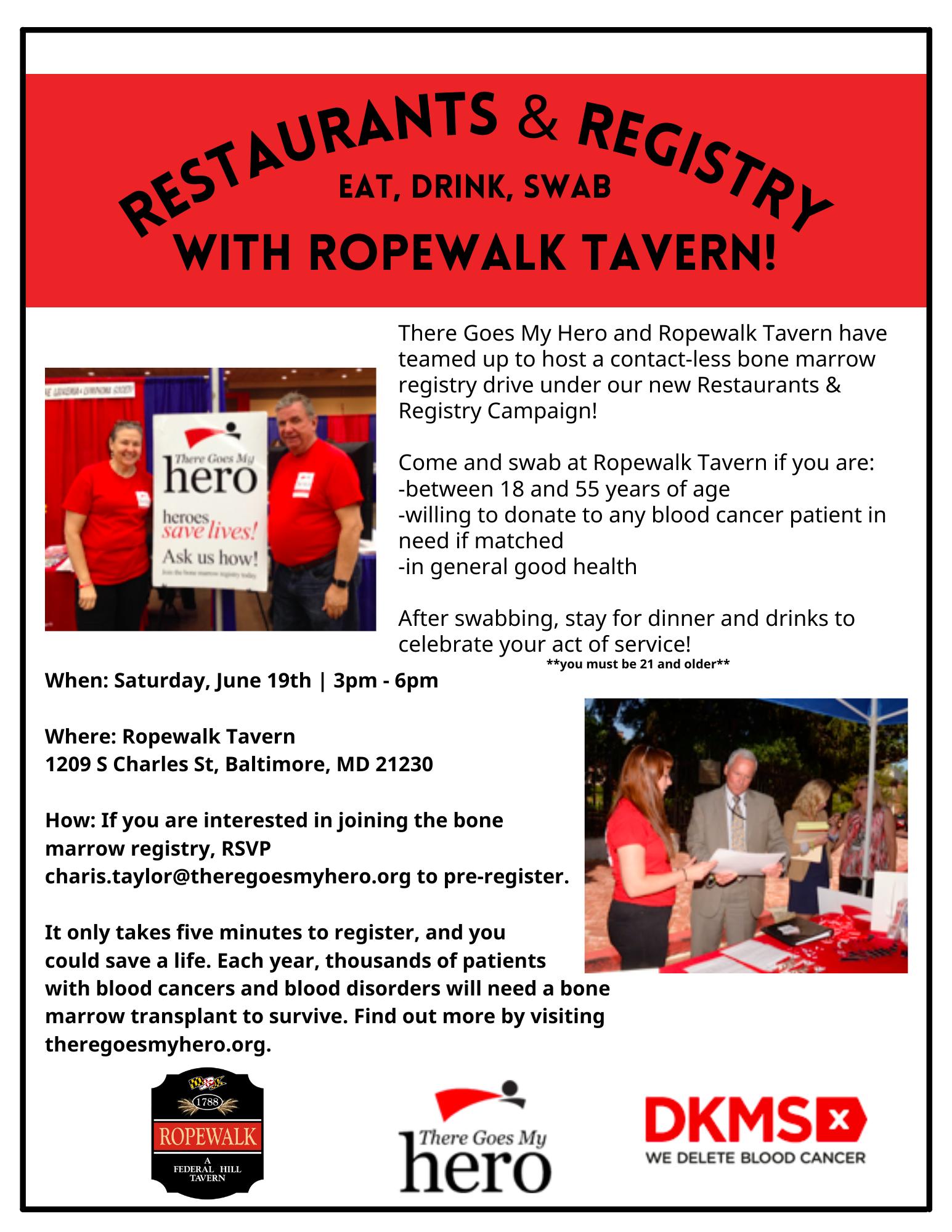 Ropewalk Tavern Bone Marrow Registry Drive